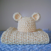 Crochet Chunky Mini Blanket and Bear Hat Set -Newborn Baby -  Yellow - Ready to Ship