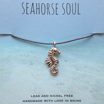 Seahorse Charm Necklace Nautical Jewelry Tiny Small Charm on a Silk Cotton Cord Bohemian Sea Style Jewelry Gifts for Her