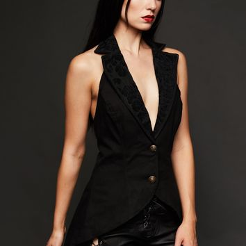 Black Sleeveless Vest Tail Jacket