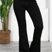 Stretchy Black Flared Denim