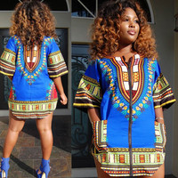 Blue Dashiki Shirt Dress with Pockets 21046