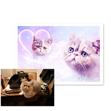 Custom Pet Art - Personalized Cat Artwork 8x10 Print Space Cats Laser Cats Dogs Pet Kawaii Pastel Gift