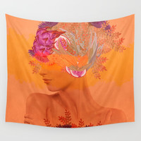 Woman in flowers III Wall Tapestry by vivianagonzlez