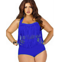 Hot Swimsuit Beach New Arrival Summer Swimwear Sexy Tassels High Rise Plus Size Bikini [4914917828]