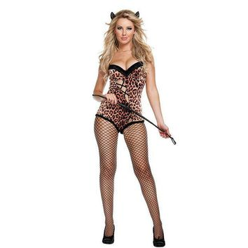 ESBON Games Club Sexy Leopard Costume Anime Halloween Party Uniform [8978896135]