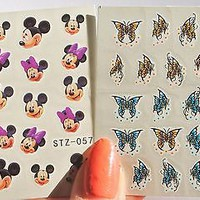 2 Sheets Purple Minnie Mickey Muse water Nail Decal, Butterfly Nail Design, Nail