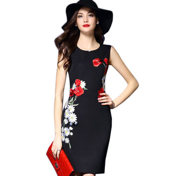 2017 High Quality Women Embroidery Dress Vintage Dress O-Neck Slim Summer Office Dresses Bodycon Sleeveless Sexy Satin Vestidos