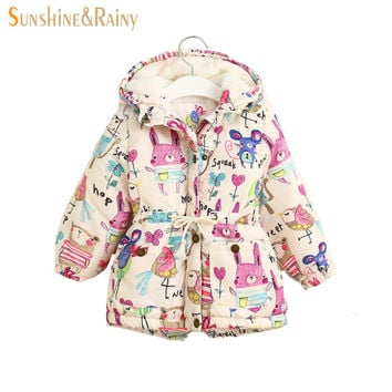 Next 2016 Winter Kids Jackets & Coats Girls Graffiti Parkas Hooded Baby Girl Warm Outerwear Cartoon Animal Children's Jacket