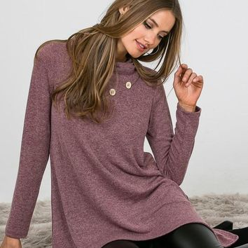 Button Detail Tunic - Purple