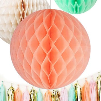 SET of 3 Honeycomb balls | Choose Coral Peach, Mint or Ivory