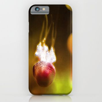 Jellyfish Through the Raging Fire iPhone & iPod Case by Distortion Art