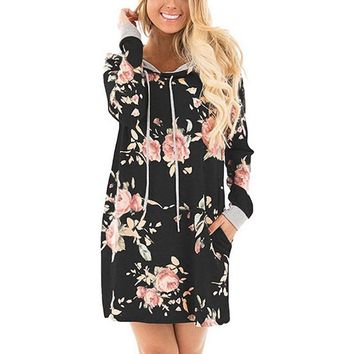 2018 Autumn Women Fashion Hooded Dress Long Sleeve Hoodies Dress With Pockets Floral Print Long Sleeve Casual Vestidos