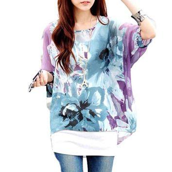 Hot Sale Blouses Women 2017 Summer Style Flowers Prints Batwing Dolman Sleeve Chiffon Boho Loose Blouse Tops Women Shirts #82