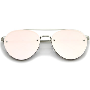 Modern Mirrored Flat Lens Rimless Aviator Sunglasses A825