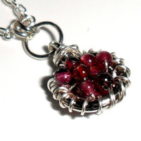 January Birthstone Garnet Necklace Sterling silver by Daniblu