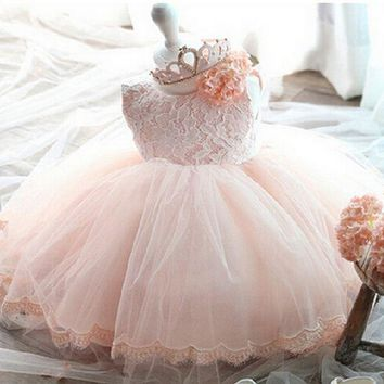 2017 summer dresses baby girls clothes lace bow tutu dress newborn baby costume 0-2Y wedding ball gown vestido de bebe bautizo