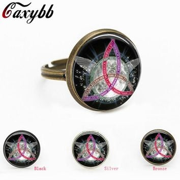 2016 colorful Pentagram Wicca charms Wiccan Jewelry Occult personality glass Jewelry gift for send friend adjustable rings
