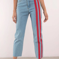 Stripe Down Denim Pants