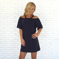 Comfort Jersey Dress in Navy Blue