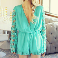 Lilac Valley Romper in Mint