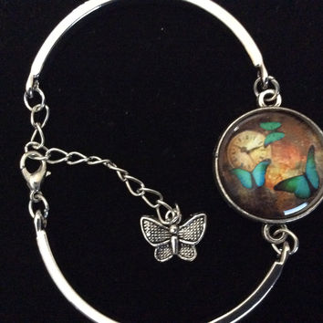 Butterfly Watch Glass Domed Charm on a Silver Adjustable Cuff Bracelet Bangle Trendy Gift Meaningful Stacking Time Clock