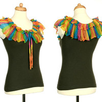 Upcycled Military Green Tank Top With Rainbow Crochet Ruffle Collar - Eco Friendly Clothing