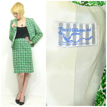 60s vintage suit / green plaid skirt suit / Mod 2 piece suit / St. Patricks Day outfit / button down / green blazer / pencil skirt
