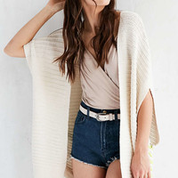 Ecote Cabana Tie-Side Ivory Poncho Cardigan - Urban Outfitters