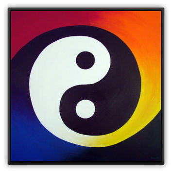 Balance - Metal Magnet of Rainbow Yin Yang Acrylic Paint Fine Art