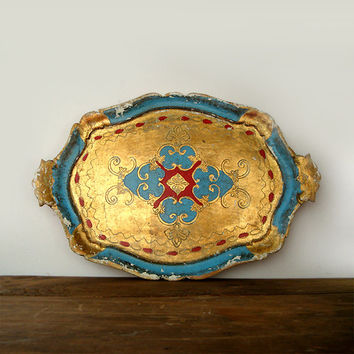 Vintage Large Serving Tray , Italian Golden Wooden Tray ,Shabby Chic
