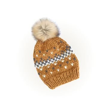 Knit Beanie Hat with Faux Fur Pom - Fair Isle Honey Mustard Hat