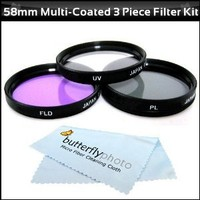 58mm Multi-Coated 3 Piece Filter Kit (UV-CPL-FLD) For The Canon Digital EOS Rebel T5i, SL1, T4i, T3i, T3, T1i, T2i, 60D, EOS 70D, EOS 5D Mark III Digital SLR Cameras Which Use Any Of These (18-55mm, 75-300mm, 50mm 1.4 , 55-200, 55-250mm) Lenses