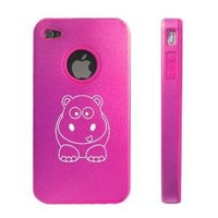 Apple iPhone 4 4S 4G Hot Pink D1693 Aluminum & Silicone Case Cover Cute Hippo