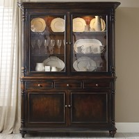 Hooker Furniture Eastridge Buffet and Hutch with 2 Seeded Glass Doors - ChinaCabinetDealers.com