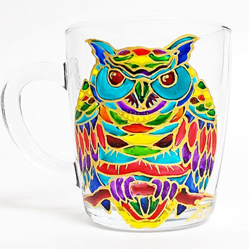Owl Coffee Mug. Tea glass cup 11 1/4 oz. Hand Painted Colorful Mug. Birthday gift. Home decor.