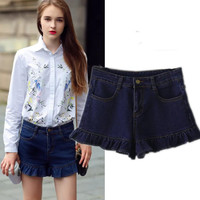 Women's Fashion Stylish High Rise Slim Ruffle Denim Pants Shorts [6048009089]