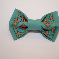 FREE SHIPPING Embroidered man bowtie Mint orange pre tied bow tie Eco friendly Groomsmen bow ties Gifts ideas for him Valentine's day gifts