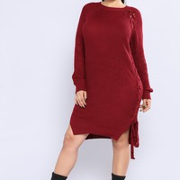 Lace It All On Me Tunic - Burgundy