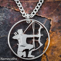 Hunting Jewelry, Compound Bow and Arrow Necklace