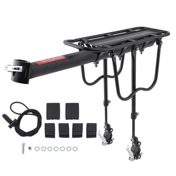 Bicycle Luggage Carrier Cargo 50KG Load Rear Rack Road MTB Shelf Cycling Seatpost Bag Holder Stand For 15-20' Bike +Install Tool