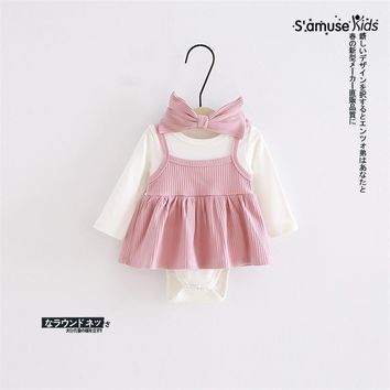 Spring Autumn Baby Girls Dress New Casual Princess Dress Newborn Baby Girls Bodysuit Strap Dress With Big Bow Hair Bands
