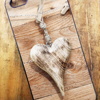 iPhone 4, iPhone 4s, iPhone 5, Samsung Galaxy S3 Cell Phone Case Wood Grain with Heart Rustic Country