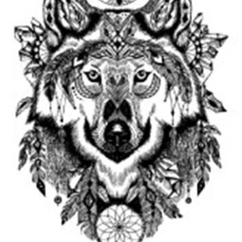 Waterproof Temporary Fake Tattoo Stickers Black Grey Wolf Dream Catcher Big Vintage Design Body Art Make Up Tools