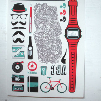 Hipster Temporary Tattoos (Champ Stamps)