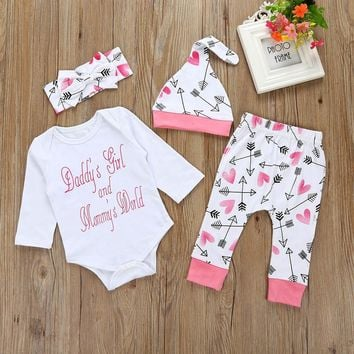 'Daddy's Girl And Mommy's World' Baby Girl 4Pc Set