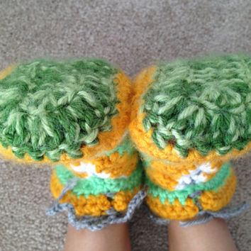 CHRISTMAS GIFT FALL Winter Adult  Slippers Booties gift hand made women's shoes hand crocheted slippers boots booties Winter Slippers