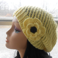 yellow hat with flower,womens accessory,Hand Made Knit,Slouchy Beanie,Slouch Hats Oversized