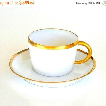SALE Art Deco Teacup, Antique White Porcelain Cup & Saucer, Hand Painted Teacup, 24K Gold Trim, 1910.