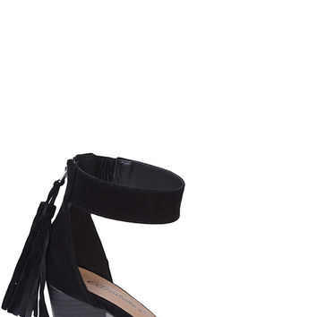 Black Faux Suede Heels with a Back Tassel
