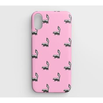 Skunk Cell Phone Case iPhone XS Max - Black on Pink